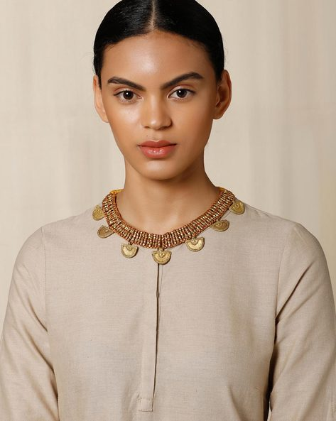 Handcrafted Dhokra Brass Necklace By Indie Picks ( Gold )