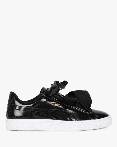 Panelled Glossy Casual Shoes By Puma ( Black )