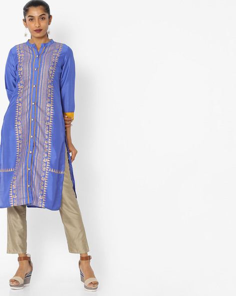 Printed Kurta With Contrast Sleeve Hems By Indian Ink ( Royalblue )