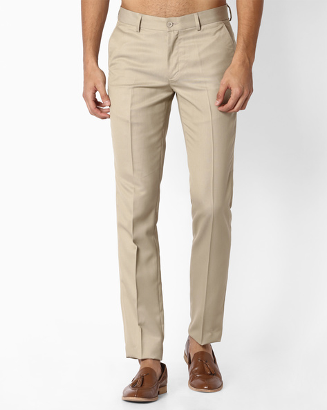 Slim Fit Flat-Front Trousers By NETWORK ( Khaki )