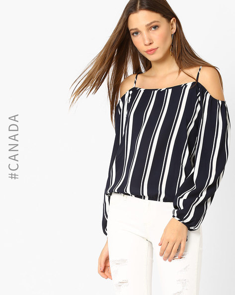 Striped Top With Cold-Shoulder Sleeves By Point Zero ( Navyblue )