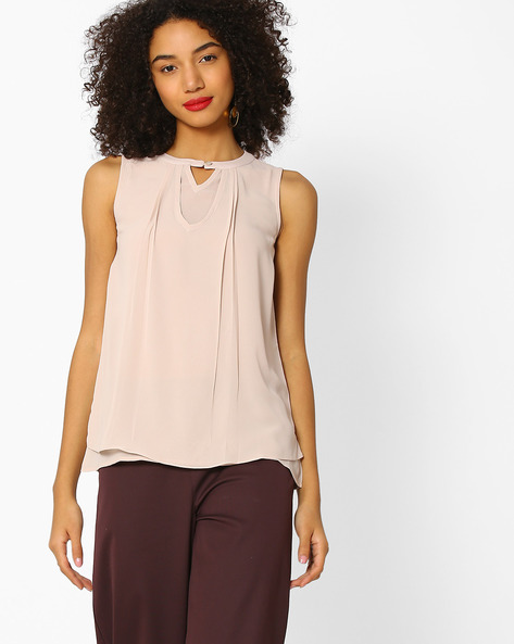 Layered Top With Buttoned Neckline By And ( Beige )