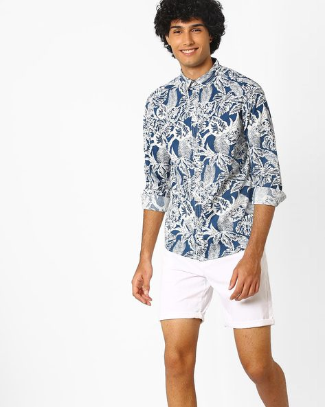 Floral Print Slim Fit Shirt By AJIO ( Navy )