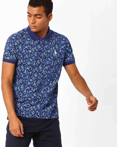 Floral Print Polo T-shirt By US POLO ( Blue )