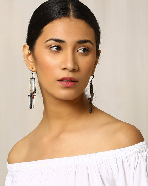 Stone Embellished Drop-Earrings By Indie Picks ( Multi )