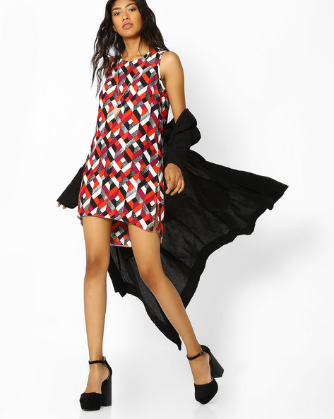 Printed High-Low Tunic With Tasseled Necklace By FIG ( Orange )