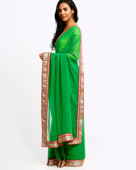 Heavy Border Chiffon Saree By Lookslady ( Green )