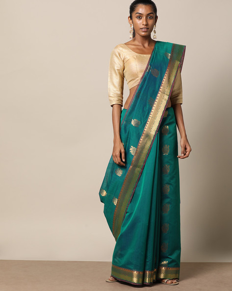 Uppada Style Mercerised Cotton Saree With Zari Buti By Indie Picks ( Darkgreen )