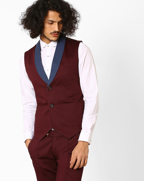 Slim Fit Cotton Waistcoat By MR.BUTTON ( Maroon )