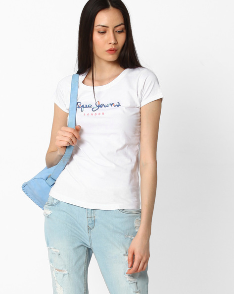 Printed Cotton T-shirt By Pepe Jeans ( White )