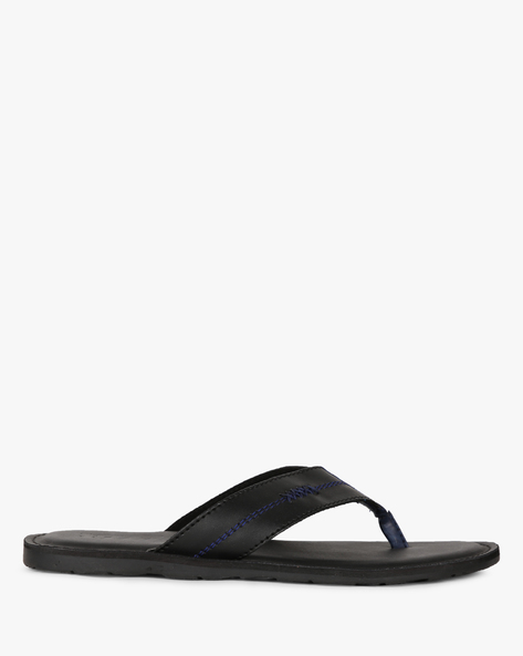 Thong-Strap Flip-Flops With Stitch Accent By Estd.1977 ( Black )