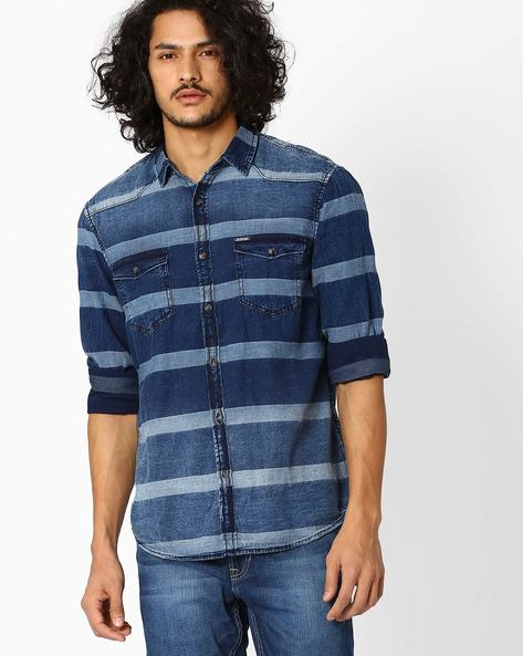 Denim Dobby Slim Fit Shirt By AJIO ( Indigo )