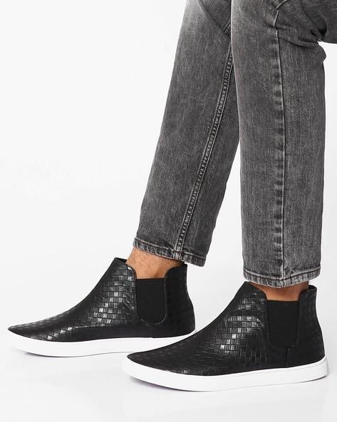 Textured High-Top Slip-On Shoes By Muddman ( Black )
