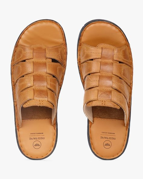 Genuine Leather Flip-Flops By RED TAPE ( Tan )