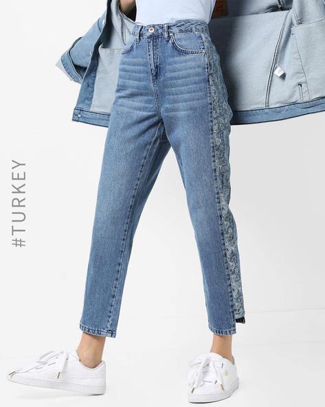 Mid-Wash Mom Jeans With Floral Print Side Panels By TRENDYOL ( Blue )