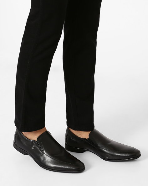Leather Slip-On Formal Shoes By ARROW ( Black )