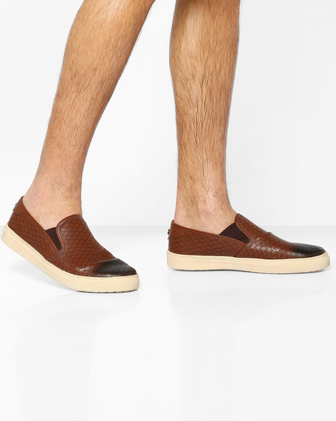 Genuine Leather Perforated Slip-Ons With Elasticated Gussets By Carlton London ( Tan )
