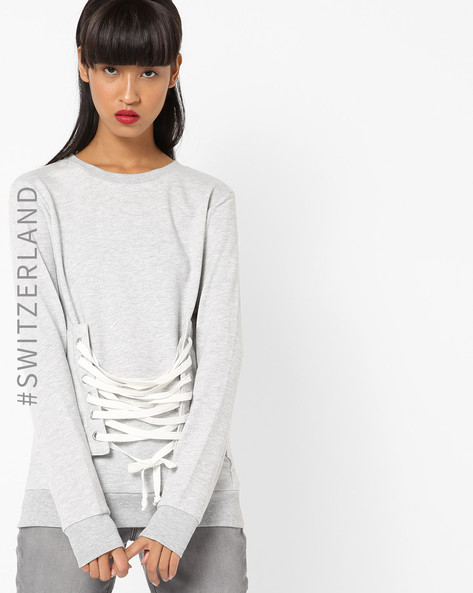 Slub Pullover With Lace-Up Fastening By TALLY WEiJL ( Grey )