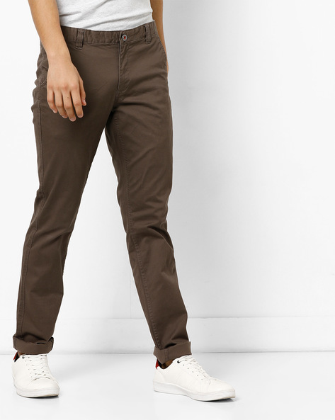Mid-Rise Flat-Front Chinos By NETPLAY ( Olive )