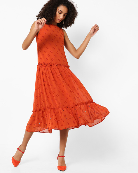 Printed Tiered Midi Dress By AJIO ( Rust )