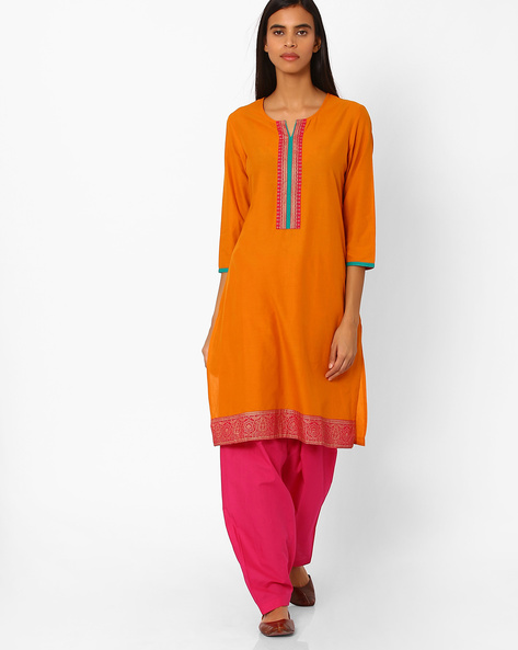 Cotton Straight Kurta By Rangmanch By Pantaloons ( Mustard )