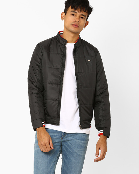 Quilted Bomber Jacket With High Collar By DUKE ( Black )