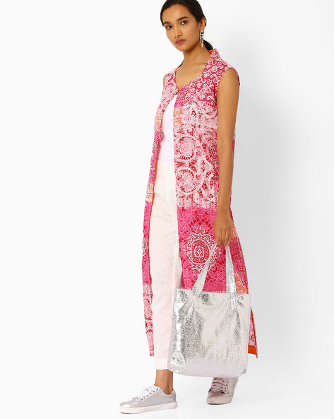 Printed Open-Front Kurta By Bannos Swagger ( Pink )