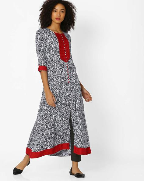 A-line Kurta With Front Slit By Shree ( Navyblue )