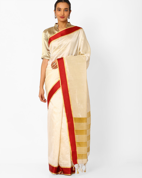 Art Silk Saree With Contrast Border By Amori ( Maroon )