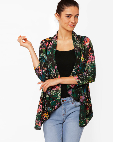Tropical Print Waterfall Shrug By RIDRESS ( Printed )
