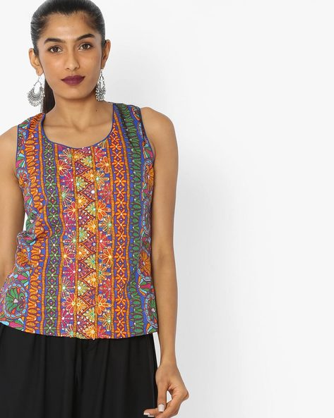 Printed Sleeveless Top With Tie-Up By Biba ( Blue )