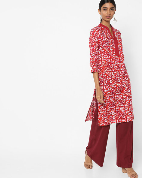 Floral Print Tunic With Side Slits By AJIO ( Maroon )