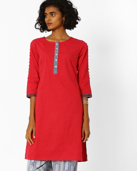 Straight Kurta With Embroidered Hems By AJIO ( Red )