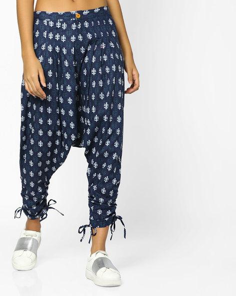 Printed Drop-Crotch Pants With Tie-Ups By Desi Weaves ( Indigo )