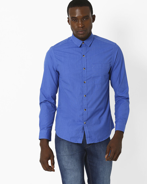 Fil-A-Fil Slim Fit Shirt With Patch Pocket By JOHN PLAYERS ( Blue )