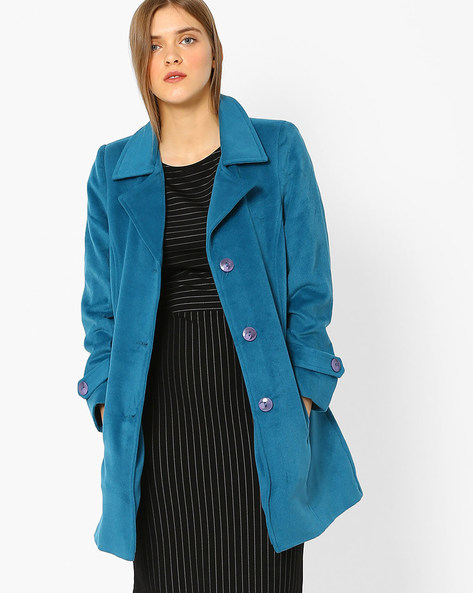 Panelled Trench Coat By DUKE ( Turquoise )