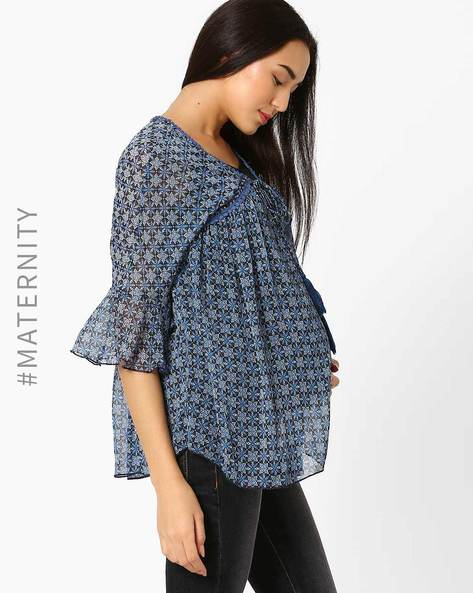 Maternity Top With Tasselled Tie-Up By Oxolloxo ( Navyblue )