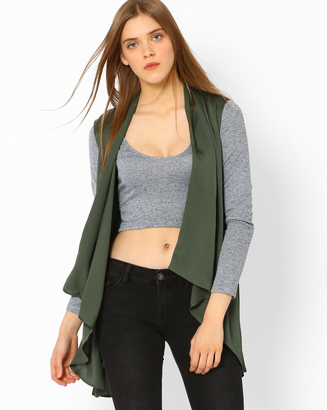 Waterfall Shrug With Lace Back By CHM ( Green )