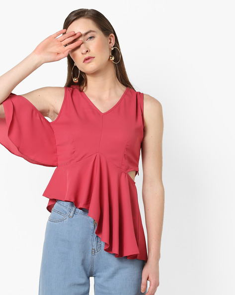 Sleeveless Flared Top With Cut-Outs By AJIO ( Coral )