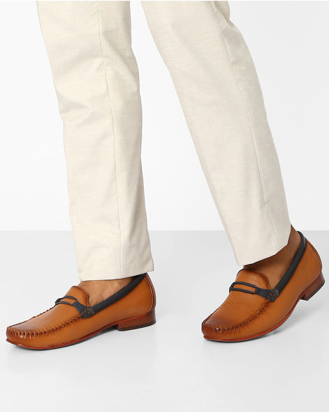 Genuine Leather Casual Loafers By VALENTINO ( Tan )