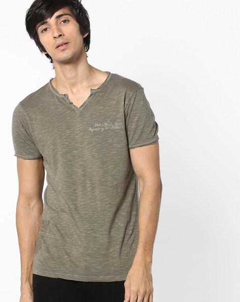 Slim Fit V-neck T-shirt By Jack & Jones ( Grey )