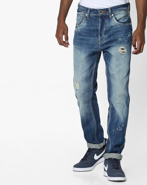 Distressed Skinny Jeans With 5-Pocket Styling By VOI JEANS ( Midnightblue )