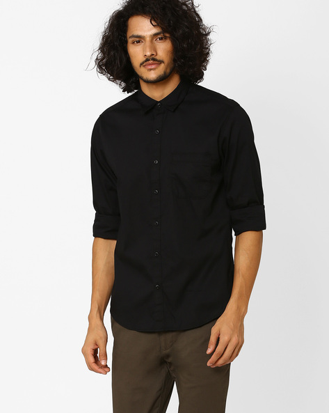 Trim Fit Shirt With Patch Pocket By JOHN PLAYERS ( Black )