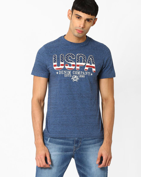 Muscle Fit Slub-Knit T-shirt By US POLO ( Navy )