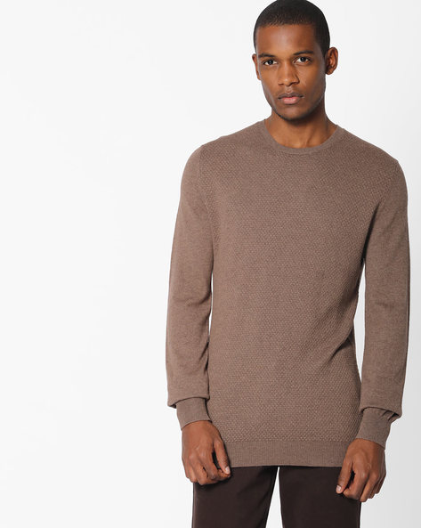 Textured Crew-Neck Pullover With Ribbed Hems By Celio ( Brown )