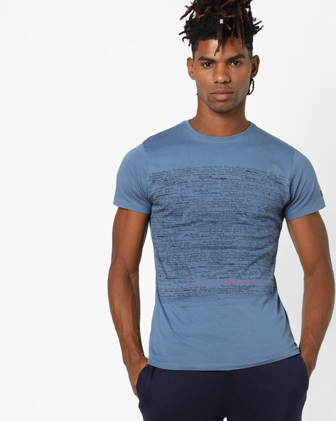 Printed Cotton T-shirt By Pepe Jeans ( Blue )