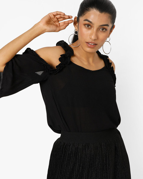 Cold-Shoulder Top With Ruffles By Only ( Black )