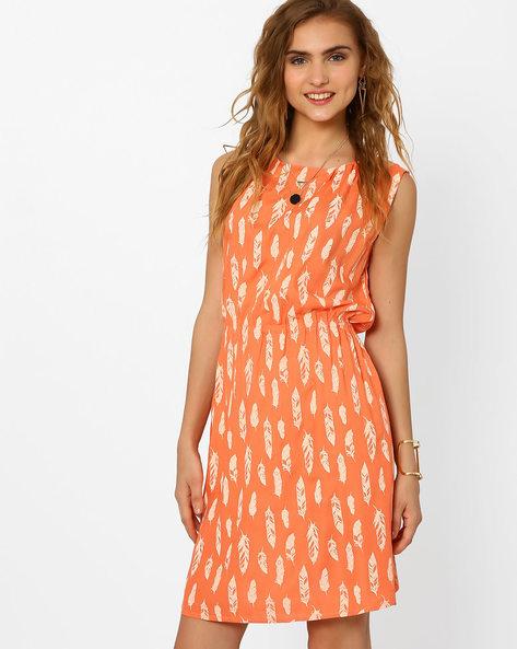 Printed Dress With Elasticated Waist By AJIO ( Pink )
