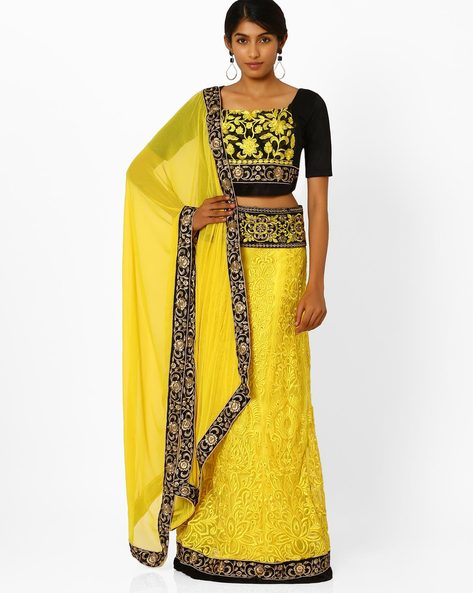 Semi-Stitched Embroidered Lehenga Choli By Viva N Diva ( Yellow )