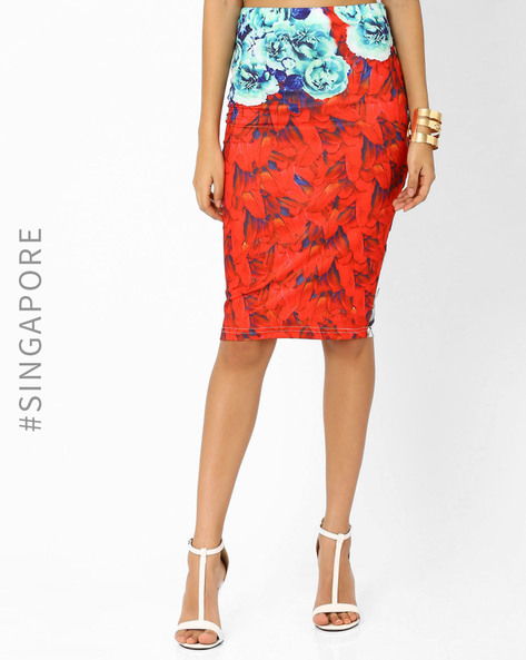 Floral Print Pencil Skirt By MDS ( Multi )